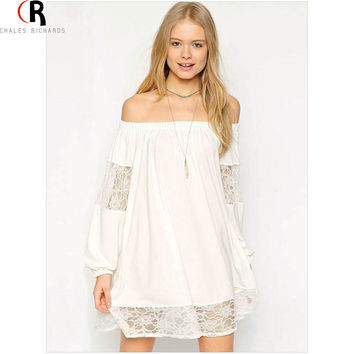 CHOIES Women Black Or White Long Sleeve Off Shoulder Sheer Lace Panel Shift 2015 Autumn New Fashion Sexy Mini Dress