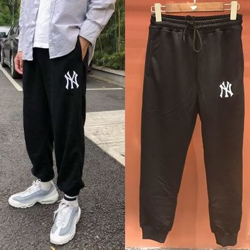 HCXX 19Aug 319 MLB Yankees Embroidered Cotton Terry Thin Section Casual Trousers