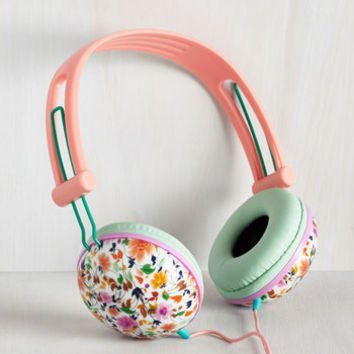 Pastel Swoons and Tunes Headphones in Leafy Wildflowers by ModCloth