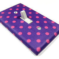 Purple and Pink Polka Dot Light Switch Cover Children Decor Nursery Decor Switchplate Girls Bedroom 939