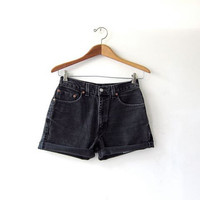 Vintage black LEVIS jean shorts. Cut off jean shorts. Faded Denim Shorts.
