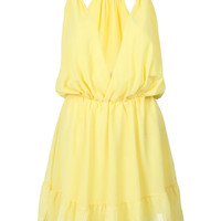 Yellow Plunging Ruffled Hem Waist Dress