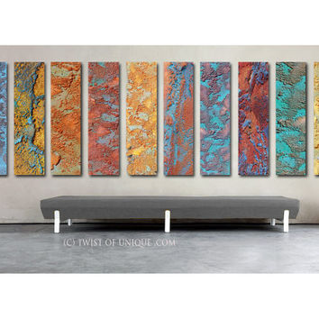 Rusted metal Abstract Paintings / 10 set of paintings CUSTOM /48x12 / Metallic abstract painting/ Rusted metal /Gold, Patina, Bronze, Copper
