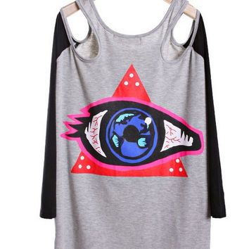 The eyeball fight color strapless long paragraph long-sleeved T-shirt