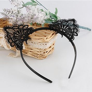 Women Fashion Sexy Black Lace Cat Ears Headband Wedding Photography Portrait Style Hair Hoop hair accessories