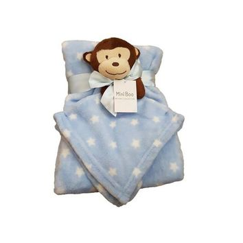 Blue baby blanket with monkey toy comforter
