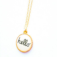 Hello My Love Retro gold plated necklace White :) Cute vintage mid century lovely sweet chic xoxo