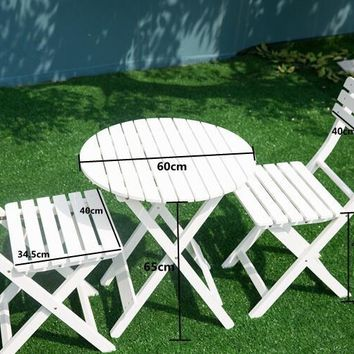 Outdoor Wood Patio Furniture White 3 Piece Folding Garden Set Table and Chair Foldable Pool Backyard Furniture Round Cafe Table