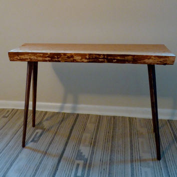 Reclaimed mid century Modern console bench table