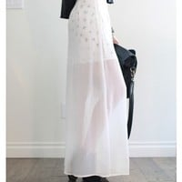White Chiffon Long Skirt