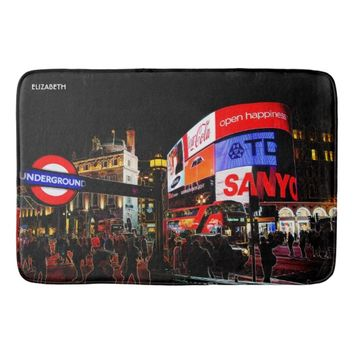Fantasy Glowing Piccadilly In London At Night Bathroom Mat