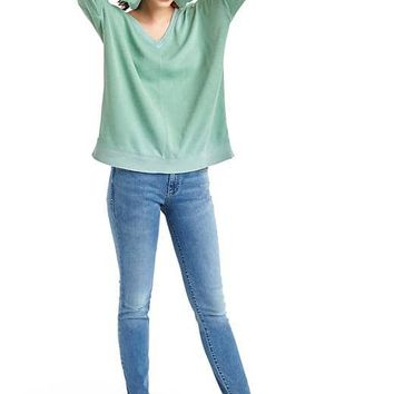 French terry V-neck tunic sweater | Gap