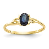 14k or 10k Yellow Gold Genuine Oval Blue Sapphire September Birthstone Ring