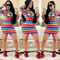 GUCCI Fashion Women Tiger Head Print Colorful Stripe Long Sleeve Sexy Dress