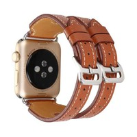 High quality strap For Apple Watch band Double Buckle Cuff sport leather loop 42 mm 38mm