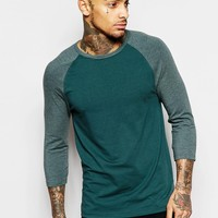 ASOS Muscle 3/4 Sleeve T-Shirt With Contrast Raglan Sleeves