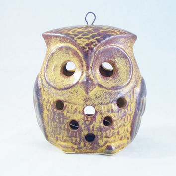 Vintage OWL LANTERN Hanging Candle Holder 1970s