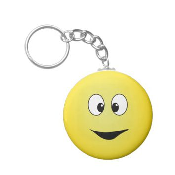 Cute round smiley face keyring basic round button keychain