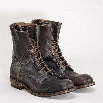 Leather combat boots from the F/W 2012/13 Shoto collection in brown.