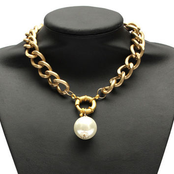 Big Imitation Pearl Pendant Link Chain Statement Choker Necklace