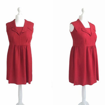 Red Crepe Dress - Short Sleeveless Dress - EWA Metal Zipper - Vintage Dress - Shawl Collar Dress