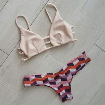 PEAPIH3 NEW hoe sale print fashion sexy upper nude and bottom geometric straps interval hollow two piece bikini