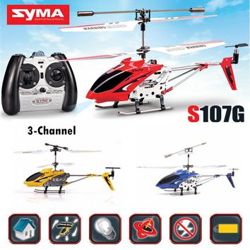 SYMA S107G Original RC Helicopter Remote Radio Control Mini LED Drone Drop Resistant Aircraft Gyro Copter Toys 360 Degree Flip