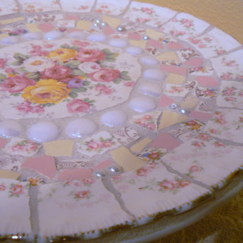 Pique Assiette Mosaic Cake Server Plate   Broken China Mosaic