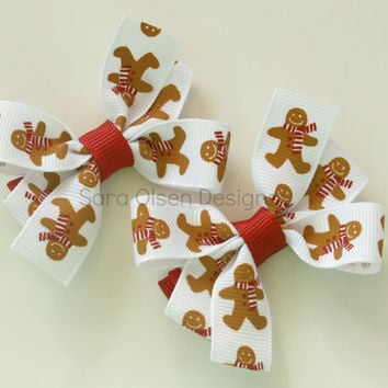 Petite Pinwheel Hairbows, Set of 2, White Red Brown, Gingerbread Man, 2.5 Inch, Pigtail Bows, Toddler Hairbows, Silver Glitter Hairbows