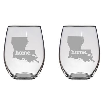 Louisiana Home Engraved Glasses, Cajun, Gift Free Personalization