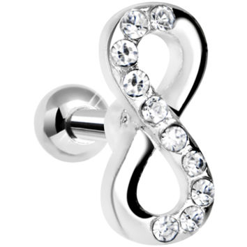 14 Gauge Clear Gem Infinity Symbol Tragus Cartilage Earring 5/16"