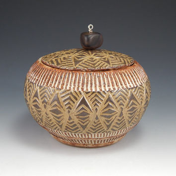 small ceramic lidded jar, sgraffito pottery, brown stoneware jar, wheel thrown jar, sugar container