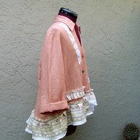 Rustic French Gypsy Linen Jacket Bohemian Artsy Mori Girls Eco UpCycled Shirt