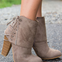 Laced Up Booties - Taupe