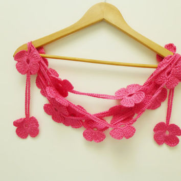 2013 fashion,summer,spring,Crochet Scarf Accessories, Floral scarf , Lariat scarf, Handmade Neck accessory,