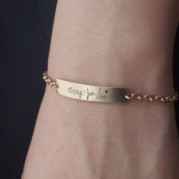 Actual Handwriting Bracelet - Personalized Signature Bracelet - Memorial Jewelry - Sympathy Gift - Mother's Gift PB10