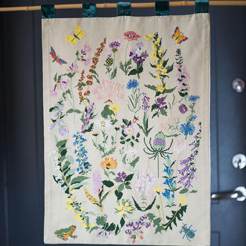 embroidery cross stitch summer garden wall hanging floral wall embroidery vintage mid century fiber - Embroidery Garden