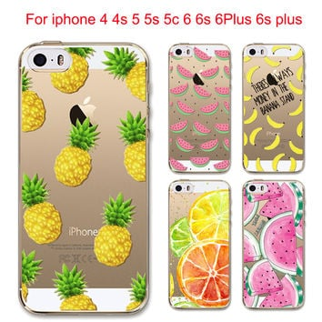 Hot Fruit Pineapple Lemon Banana Soft Silicon Transparent Case Cover For Apple iPhone 6 6S 5 5S SE 5C 6Plus 6sPlus 4 4S Coque