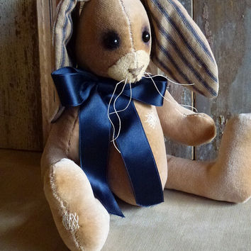 Vintage Velvet Rabbit: vintage look, soft sculpture bunny, artist bear. Perfect for a heirloom gift, baby room / child's room!
