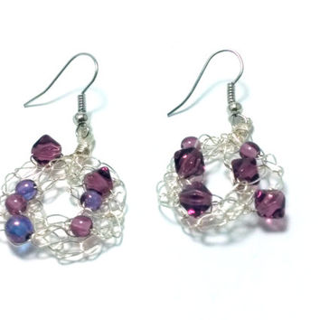 FREE SHIPPING Wire crochet earrings with glass beads: Rich purple 2
