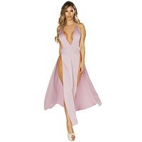 Sexy Back To You Satin High Slit Plunge Lilac Maxi Dress