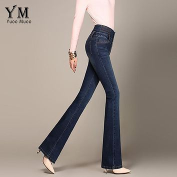 YuooMuoo Ladies Casual High Waist Long Elastic Buttons Women Jeans Skinny Fit Slim Full Length Denim Flare Pants