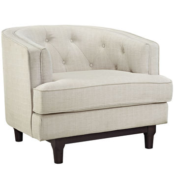 Modway Coast Armchair in Tufted Beige Fabric on Walnut Finish Legs
