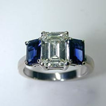 5.01ct Emerald Cut Diamond & Sapphire Engagement Ring JEWELFORME BLUE