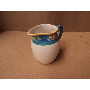 Handcrafted Drink Pitcher 8 1/4in H x 6 1/2in Diameter White/Blue/Pink Ceramic -- Used