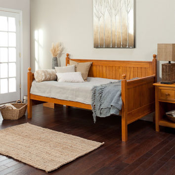 Twin Size Daybed in Honey Maple Wood Finish - No Trundle