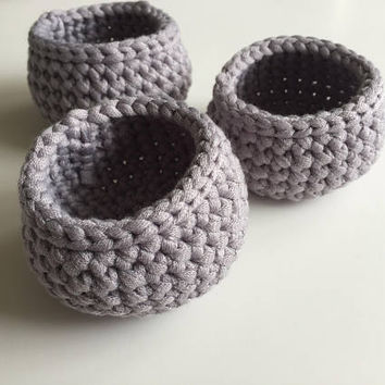 Crochet Mini Basket, Trinket Basket, Small Item Storage, Storage Basket, Set of Baskets, Round Basket, Housewarming Gift, Crochet Home Decor