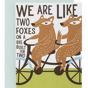 Foxes on Bike Birthday Card