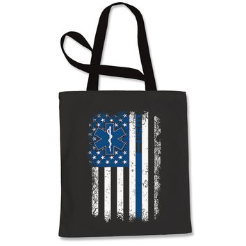 EMT Emergency Medical Technician With Flag Shopping Tote Bag