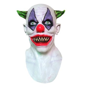 Halloween Mask Creepy Evil Scary Halloween Clown Mask Rubber Latex GREEN HORNED CLOWN For Costume Party
